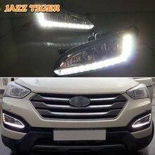 JAZZ TIGER Super Helligkeit Wasserdicht ABS Abdeckung 12V Auto DRL LED Tagfahrlicht Für Hyundai Santa Fe IX45 2013 2014 2015