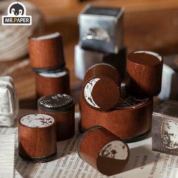 Mr Paper 8 Designs Planet Moon Wooden Stamps Rubber Vntage for Scrapbooking Deco DIY Craft Standard Wooden Stamp Stationery