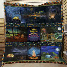 Anime Camping Element Printed Home Sofa Cover Quilt Queen King For Bed Watching Blanket Travel Hotel Warm Blanket Cotton Quilt(China)
