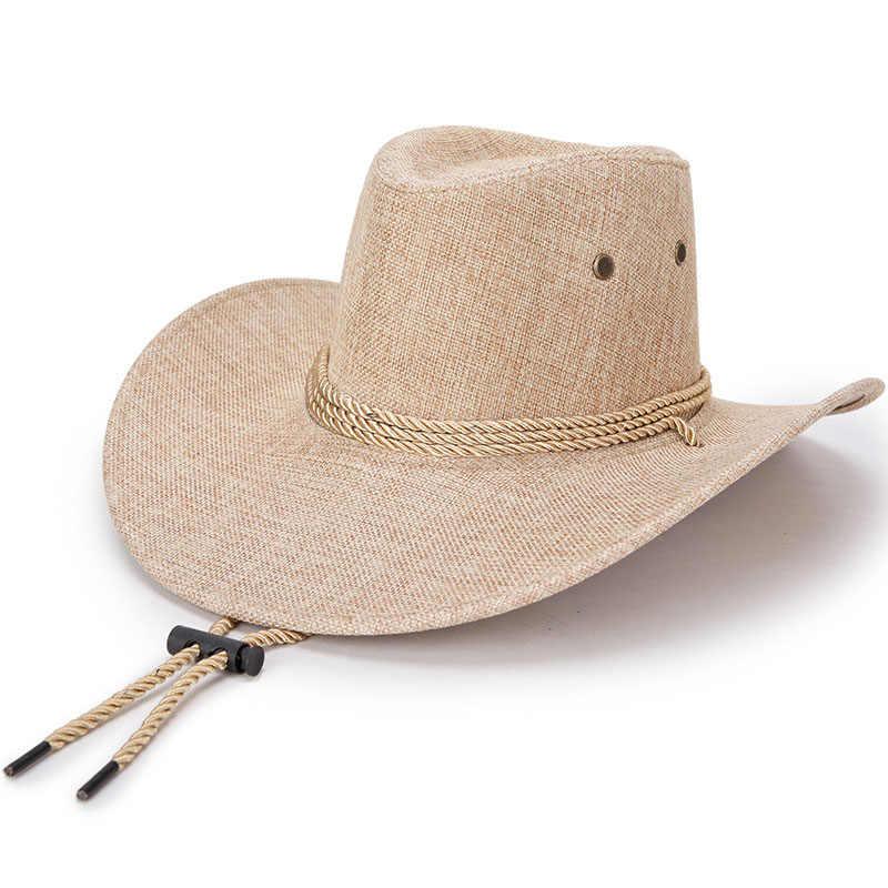 Zld Western Koboi Topi Pria Sun Visor Cap Perjalanan Kinerja Koboi Berjemur Topi Perjalanan Cap Topi Jazz Berkualitas Baik Barat topi