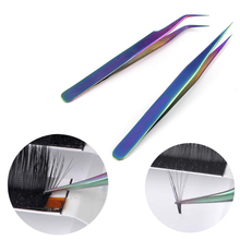 1Pcs Curved Straight Tweezers Rainbow Eyelash Extension Nails Decor Picker Dead Skin Remover Manicure Makeup Nail Tools