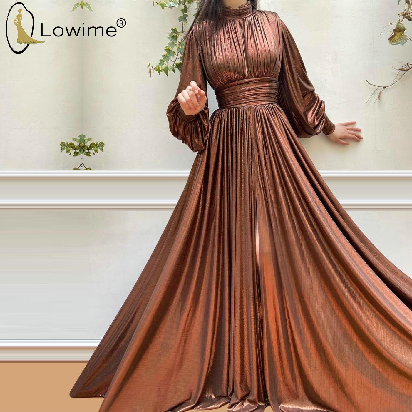 High Neck Long Puffy Sleeves Evening Dresses Ruched A Line Split Floor Length Vestidos De Fiesta De Noche Party Prom Gowns