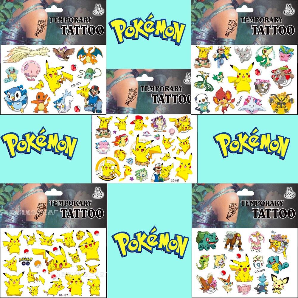 5 pc temporária pokemon tatuagem adesivo pikachu miúdo adesivos brinquedos go pokemon crianças à prova dwaterproof água adesivos criança recompensa presente adesivo