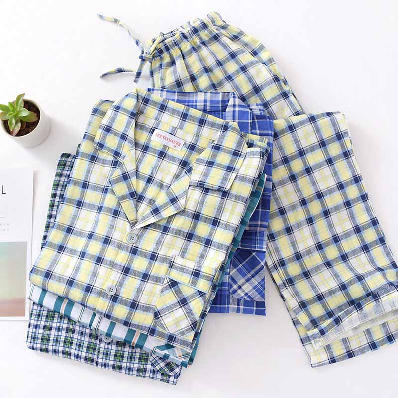 Spring And Autumn Men Pajamas Set Plaid Simple Style Turn-down Collar Gauze Cotton Sleepwear Comfort Loose Homewear Casual Wear