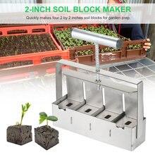Handheld Soil Blocker 2-Inch Soil Block Maker Soil Blocking Tool with Dibbles Dibbers for Garden Prep Home Garden Gadget Tools