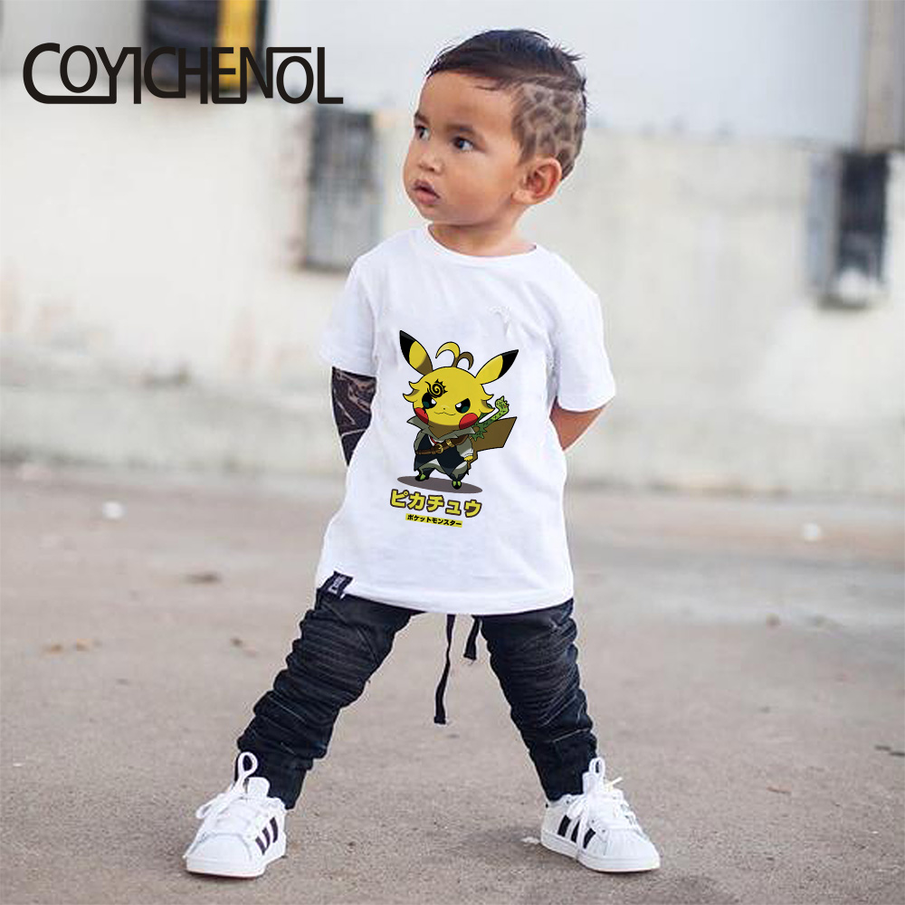 Pokémon Kids Tshirt Pikachu Kids Tshirt New 2-12 Years Animation Printed Cartoon Children Tops COYICHENOL