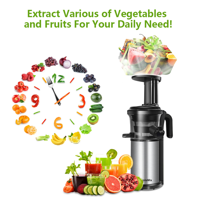 200W 40RPM Stainless Steel Masticating Slow Auger Juicer Fruit and Vegetable Juice Extractor Compact Cold Press Juicer Machine Appliances Consumer Electronics