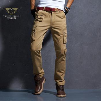 Męskie spodnie Cargo wiele kieszeni taktyczne spodnie wojskowe męska odzież wierzchnia Streetwear Casual Army proste spodnie długie spodnie 28-38 tanie i dobre opinie PAVEHAWK Cargo pants Mieszkanie COTTON Kieszenie REGULAR 28 - 38 Pełnej długości JBK203 W stylu Safari Midweight Suknem