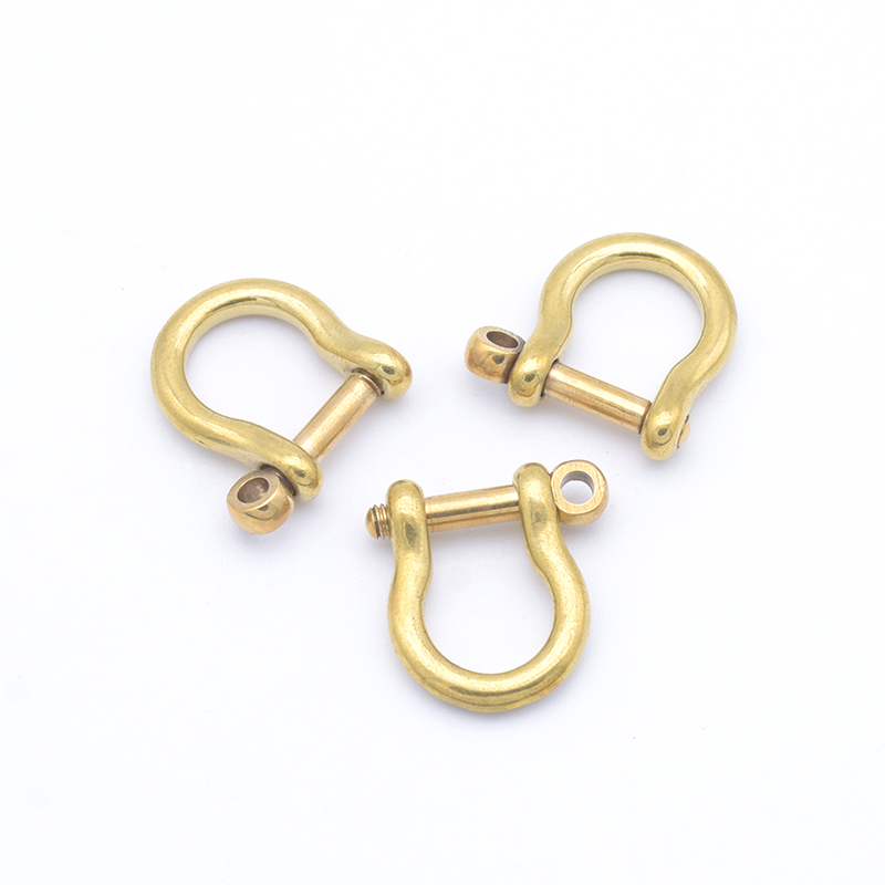 1x Ivoduff Solid Brass Carabiner D Bow Staples Shackle Fob Key Ring Keychain Hook Screw Joint Connector Buckle