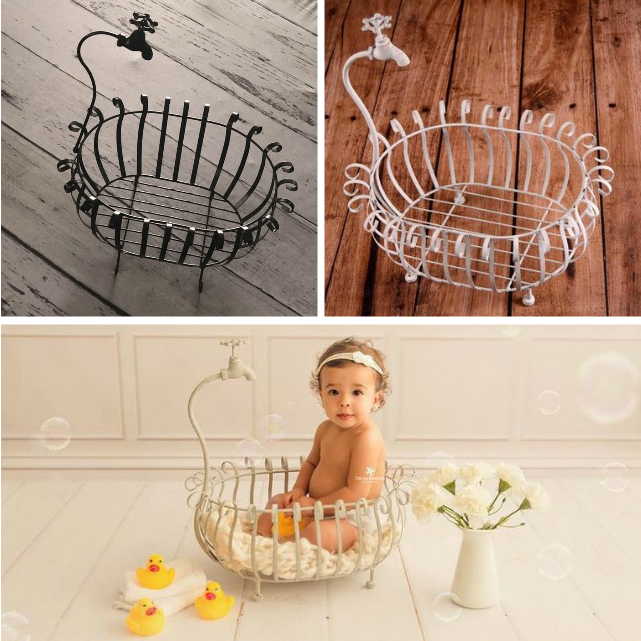 Newborn Baby Photography Prop Baby Bathtub Infant Creative Bathtub Photo Studio Novelty Accessory Baby Faucet Bathtub