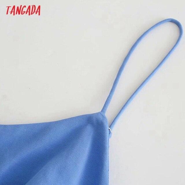 Tangada Women's Summer Dress Blue Dress With Belt Strap Adjust Sleeveless 2021 Fashion Lady Elegant Dresses 3H772 4