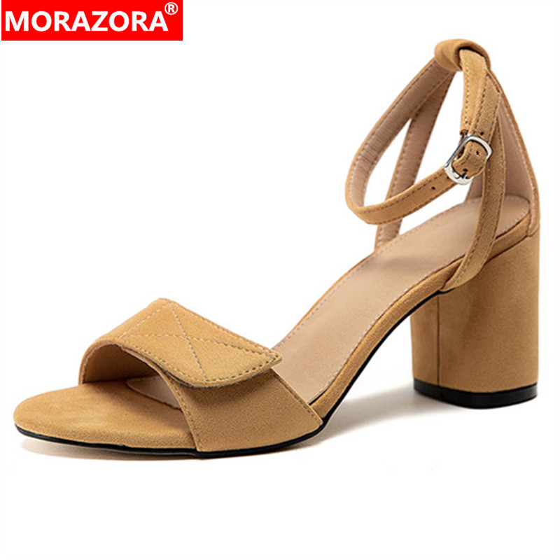 MORAZORA 2020 Big Size 33-43 Women Sandals Flock Buckle Solid Colors Summer Square High Heels Sandals Ladies Casual Shoes