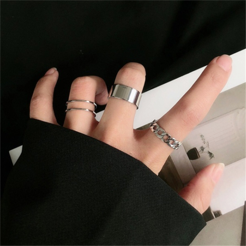 Punk Metal Geometric Round Ring Set Silver Color Open Rings for Women Fashion Finger Accessories Buckle Joint Tail Ring Jewelry 1