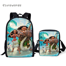 ELVISWORDS Fashion Kids Backpack Moana Princess Vaiana School Book Bags Cartoon Toddler 2PC Set Backpack/Flaps Bags/Pen