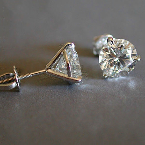 Luxury  6/7or 8mm Round Lab Diamond sterling Earrings 1