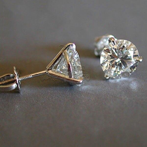 Di lusso Femminile 6/7/8 millimetri Rotonda Lab Orecchini di Diamanti 100% Reale 925 Orecchini In Argento Sterling Per Le Donne piccola Vite Orecchini con perno