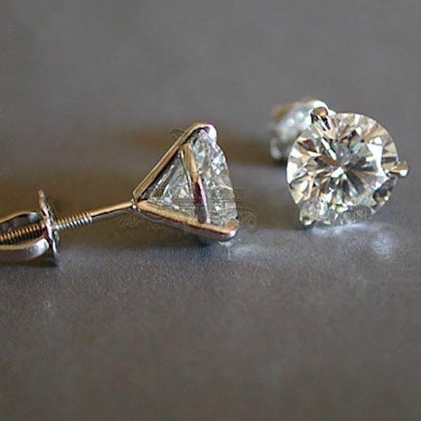 Luxury Female 6/7/8mm Round Lab Diamond Earrings 100% Real 925 Sterling Silver Earrings For Women Small Screw Stud Earrings