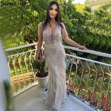 Serene Hill Silver Beading Tassel Luxury Evening Dresses Gowns 2020 Cap Sleeves Mermaid Elegant For Women Party LA60830