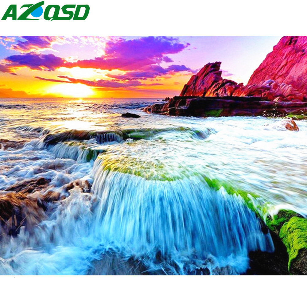AZQSD алмазная вышивка море крестиком алмазная мозаика природа рукоделие картина стразами декор для дома 5D подарок