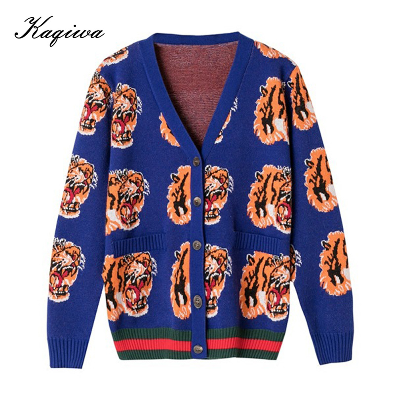2020 New Women's Short Coat Net Red Same Tiger Head Jacquard Cardigan European Heavy Industry Long Sleeve Sweater