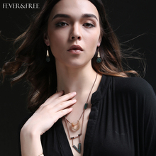 Fever&Free Ethnic Tribal Triangle Necklace Alloy Pink Simulated Pearl Statement Necklace Bohemian Style Jewelry Accessories 2019 недорого