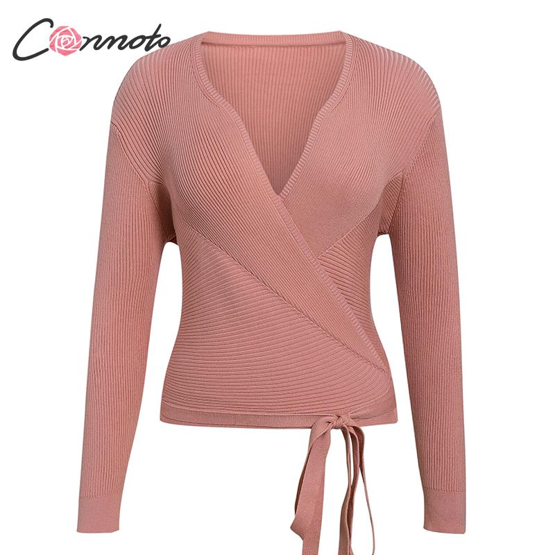 Image 5 - Conmoto Autumn Winter Knitted Sweater Women Sweater Ladies Wrap Sweaters Casual Sweater Jumper 5 colorsCardigans   -