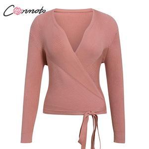 Image 5 - Conmoto ฤดูใบไม้ร่วงฤดูหนาวถักเสื้อกันหนาวผู้หญิงเสื้อกันหนาวสุภาพสตรี Wrap เสื้อกันหนาวแบบสบายๆเสื้อกันหนาวจัมเปอร์ 5 สี