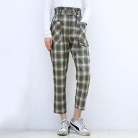 2019 Autumn New Korean Casual Women Pants Plaid High Waist Straight Trousers Women Trousers Fashion Streetwear Trousers Women