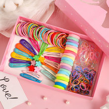 Dzieci kolorowe nylonowe elastyczne gumki do włosów klips do włosów głowy liny zestaw podarunkowy dziewczyna zespół Heaswear zestaw akcesoriów do włosów INS