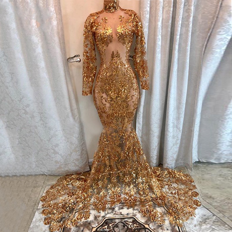 Long Sexy   Prom     Dresses   2019 See Through High Neck Long Sleeve Gold Sequin African Black Girl Mermaid Illusion   Prom     Dress