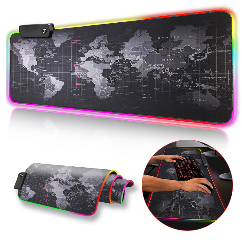 Gaming Mouse Pad Computer Mousepad Large Mouse Pad Gamer RGB World Map Big Mouse Carpet PC Desk RGB Mat