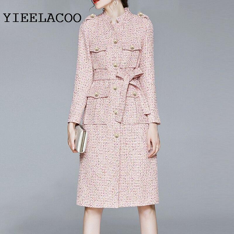 Pink Tweed jacket Color dots sequin fabric spring / autumn /winter women's jacket Business ladies one piece jacket coat
