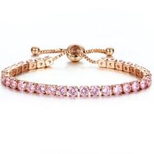 Ladies fashion adjustable pink crystal bracelet gold charm wedding sweet jewelry romantic birthday gift FXM