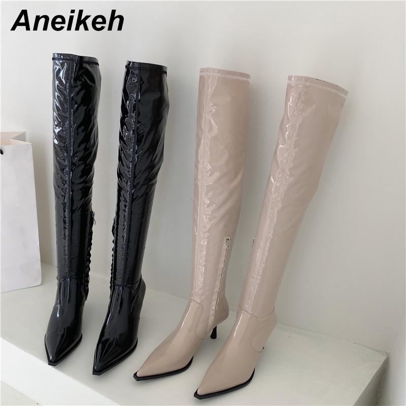 Aneikeh-Botas por encima de la rodilla para mujer, zapatos de polipiel con punta en pico, plisados, sexys, de costura, para primavera y otoño, 2020