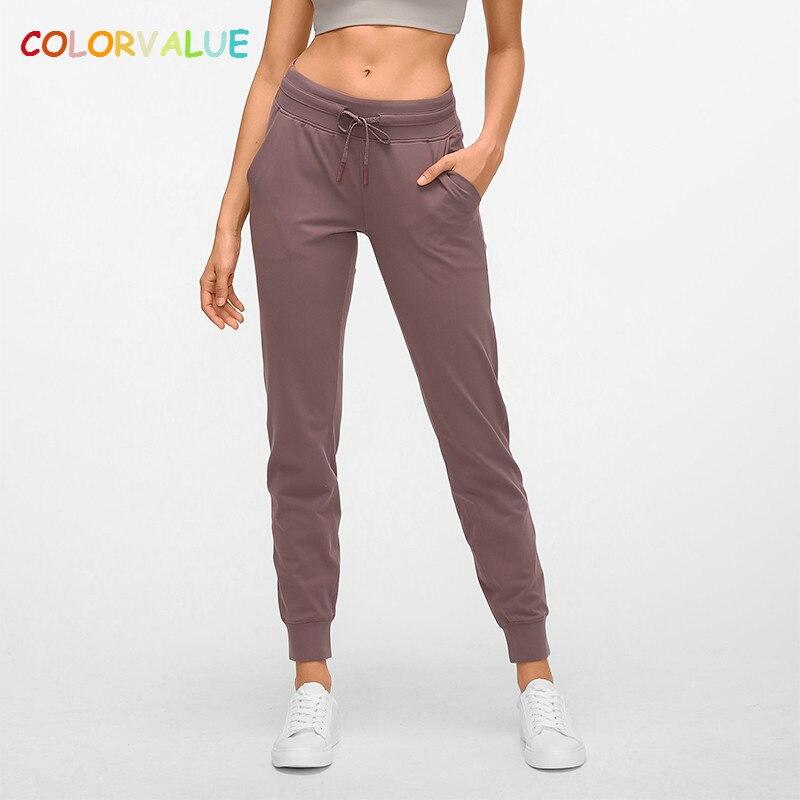 Colorvalue Nackt-fühlen Stoff Workout Sport Jogger Hosen Frauen Taille Kordelzug Fitness Laufende Sweatpants mit Zwei Seite Tasche
