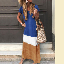Fashion S- 5XL Plug Size Women Dress Summer Short Sleeve Loose Sundress Patchwork Casual Beach Dresses