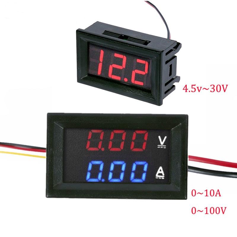 DC 100V 10A Voltmeter Ammeter Blue Red LED Amp Dual Digital Volt Meter Gauge, 4.5V to 30V Voltmeter Voltage Meter