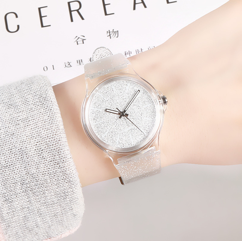 High Quality Harajuku Glitter Fashion Jelly Silicone Transparent Plastic Women Watches Lovely Cute Unique Ladies Dress Watch Hot