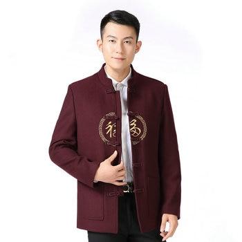 Early Winter Man Wool Blend Tunic Coat Oriental Vintage Mandarin Collar Tweed Jackets Men Retro Woolen Outerwear Red Navy Blue