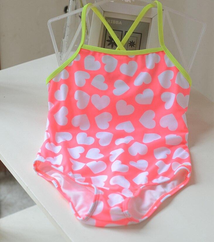 Special Offer Big Boy GIRL'S Students Pink Heart Cute Sweet Spa Resort One-piece Swimwear