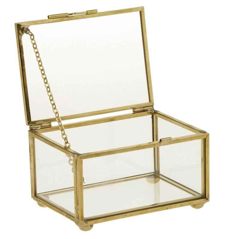 Geometris Kaca Perhiasan Gaya Meja Kotak Wadah untuk Menampilkan Perhiasan Kenang-kenangan Dekorasi Rumah Tanaman Wadah Perhiasan Stora