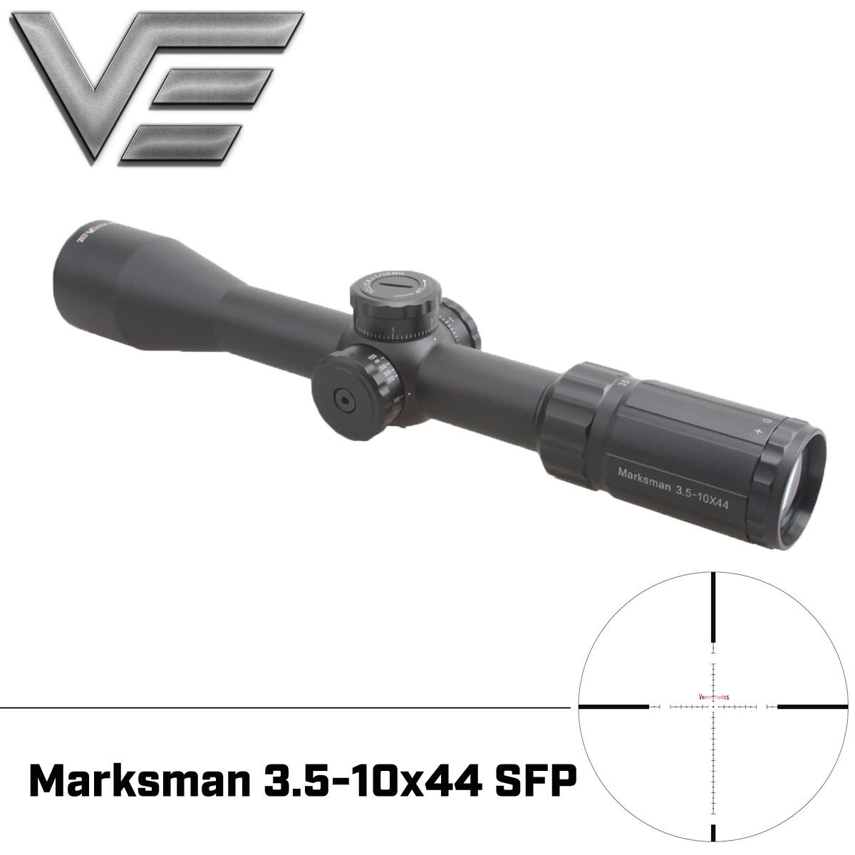 Vector Optics Marksman 3.5-10x44 Tactical Gun Rifle Scope MP Reticle Low Turret 1/10 MIL Adjustment With Mount For Best Hunting