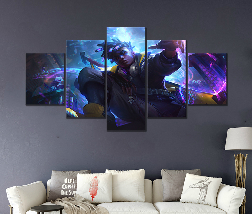 With Borders 5 Sheets//Set SizeA Image Printed On Canvas Modern Giclee Canvas Prints Artwork Moon Under The Wolf Art Decorative Wall Painting