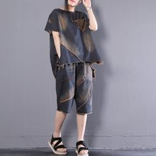 Summer Loose Womens Denim Two Piece Outfits Short Sleeve Asymmetrical O-Neck Pullover Top Tees Elastic Waist Knee Length Shorts(China)