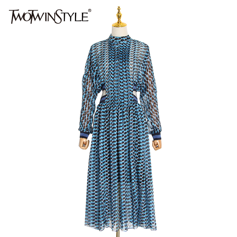 TWOTWINSTYLE Print Hollow Out Dress For Women Stand Collar Long Sleeve High Waist A Line Dresses Female Spring Fashion New 2020