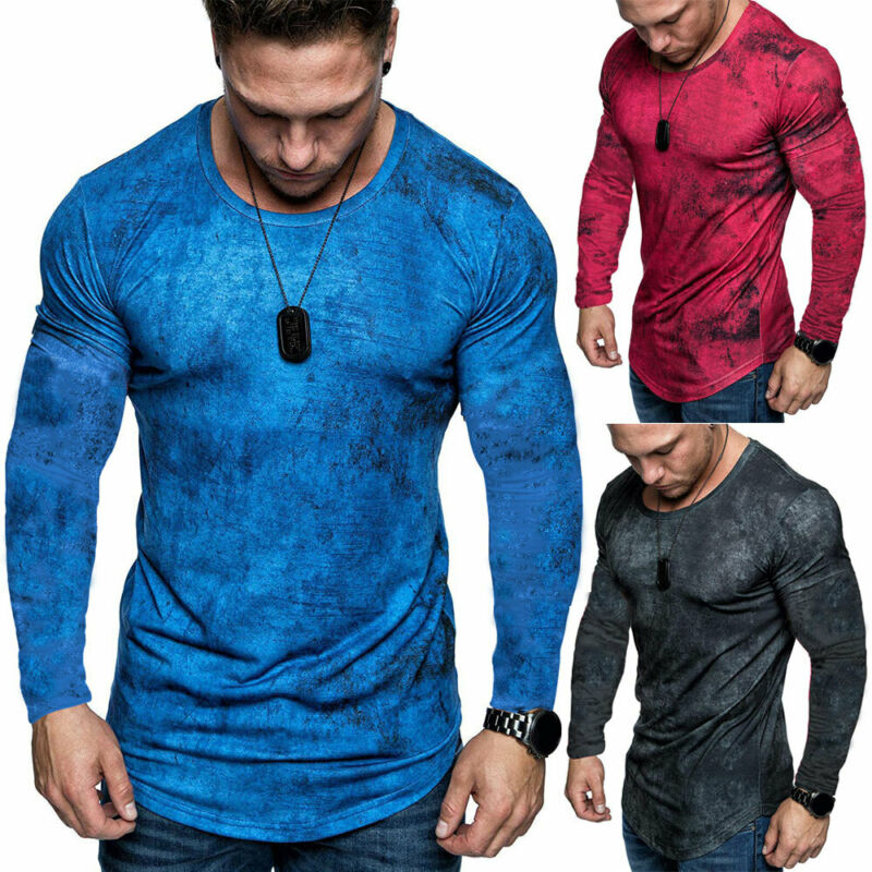 New Style Mens Tie-Dye Slim Fit Sports T Shirts Casual Gym Long Sleeve Muscle Tee Tops T-shirt 3 Colors