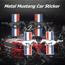 1 Pair 3D Metal Mustang Car Side Fender Rear Trunk Emblem Badge Sticker Decals Accessories For Ford Mustang GT Car-styling цена и фото