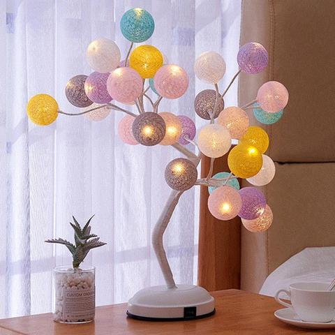bola de algodao criativo lampada da arvore rattan bola luz led luzes do quarto sala