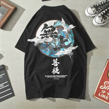 Chinese Style 2020 News Crane Top Traditional Chinese Clothing For Men Fashion Csaual Streetwear Short Sleeve Chinese T Shirt