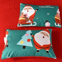 Merry Christmas Santa Claus Deer Snowman Pattern Bed Quilt Cover Skin friendly Pillow Case Comfortable Bedding Set Xmas Decor